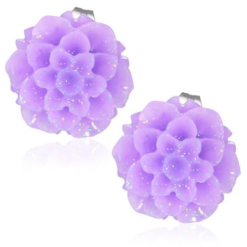 Fialový květ - Ocelové náušnice