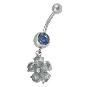 Ocelový piercing Květ, Barva zirkonu: Modrá