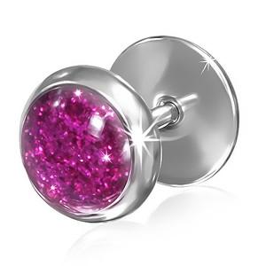 Piercing - růžový třpytivý střed