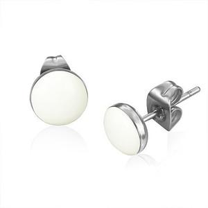 Ocelové náušnice - bílý a mírně vypouklý kruh