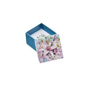 Tyrkysová krabička s květinovým motivem - malá