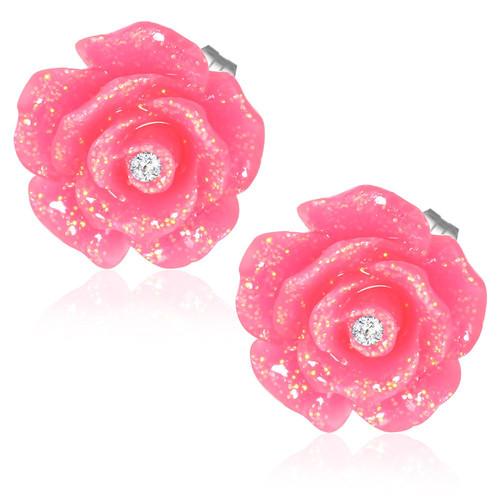 Tmavě růžový květ růže s kamínkem - Ocelové náušnice