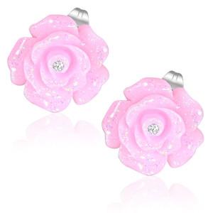 Růžový květ růže s kamínkem - Ocelové náušnice