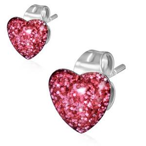 Ocelové náušnice - růžové srdce se třpytkami