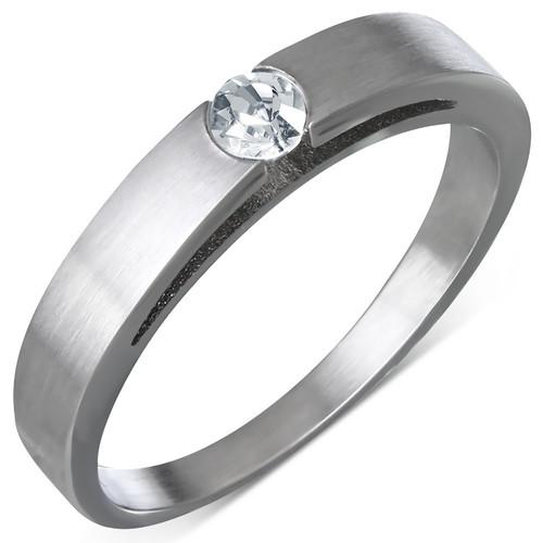 Ocelový prsten s zirkonem