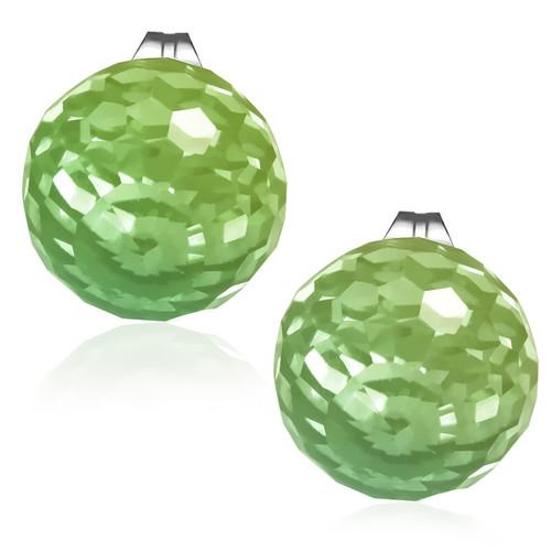 10mm – Světle zelená broušená skleněná kulička