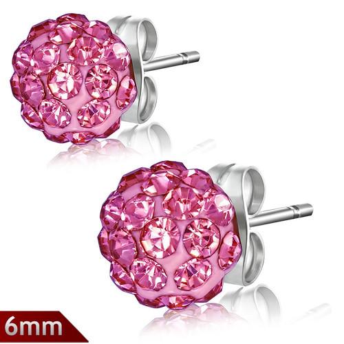 6mm – Růžová kulička s kamínky