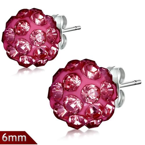 6mm – Růžová červená kulička s kamínky