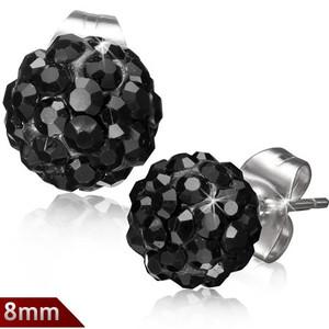 8mm – Černá kulička s kamínky