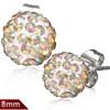 8mm – Bílá kulička s lesklými perleťovými kamínky