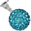 Ocelový přívěsek Disco Ball 13 mm- kulička s zirkony, barva Aquamarine