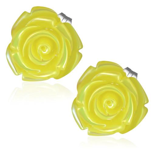 Žlutý květ, perleťové zaoblené hrany - Ocelové náušnice