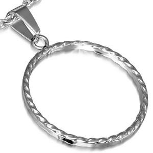 Ocelový přívěsek - kruh s vroubkovanými boky
