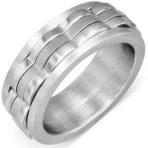 Ocelový prsten - vlnkovité výstupky