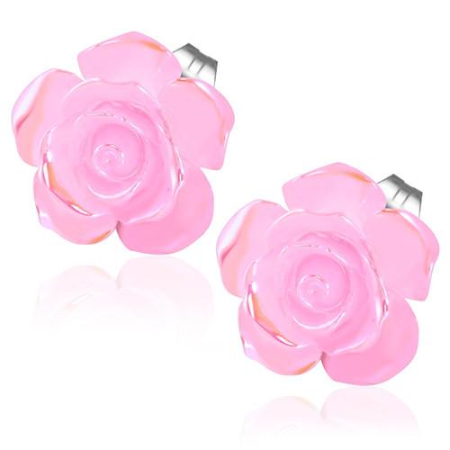 Růžový perleťový květ, puzety - Ocelové náušnice