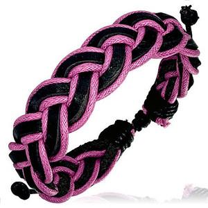 Pletený kožený náramek - růžový, černý