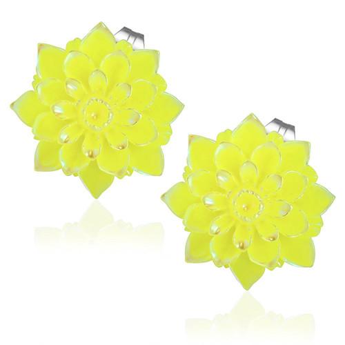 Žlutý perleťový květ - Ocelové náušnice