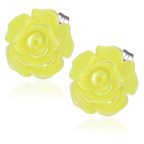 Žlutý květ - Ocelové náušnice