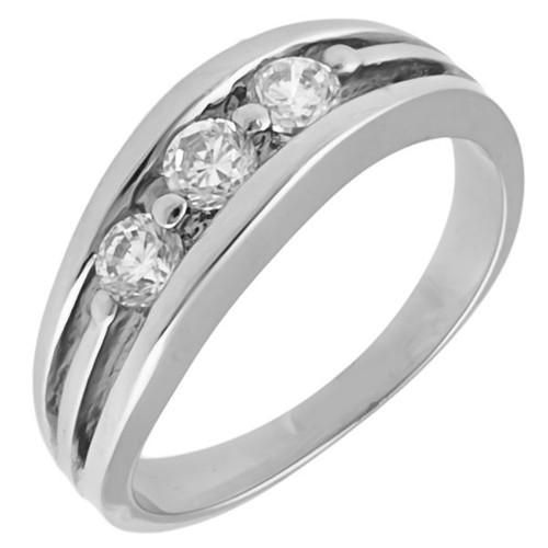 Ocelový prsten, tři kamínky a dvě linky