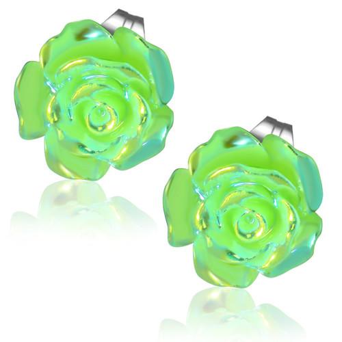 Zelený perleťový květ - Ocelové náušnice