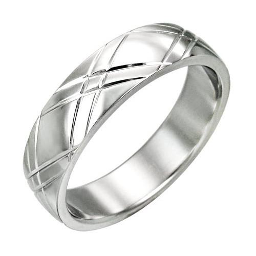 Ocelový prsten, dvojrýhy do kříže