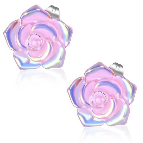 Růžový perleťový květ - Ocelové náušnice