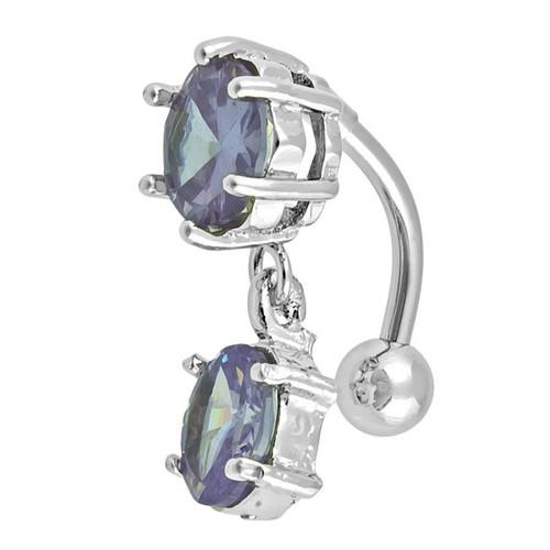 Ocelový piercing, Barva zirkonu: Modrá