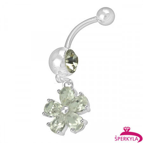 Ocelový piercing Květina, Barva zirkonu: Zelená