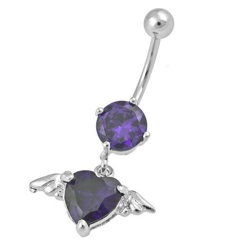 Ocelový piercing Srdce, Barva zirkonu: Fialová
