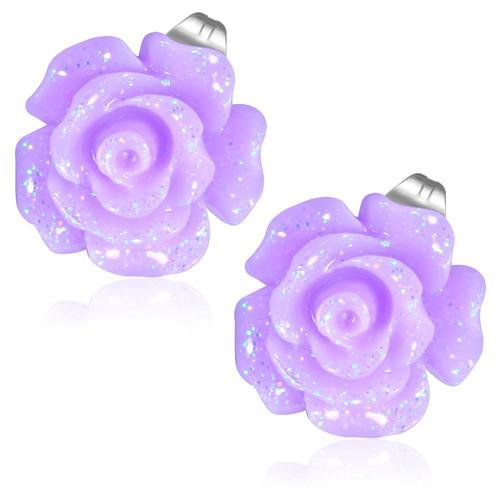 Fialový květ růže- Ocelové náušnice