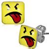 Puzetové náušnice – čtvercový žlutý smajlík s vypláznutým jazykem
