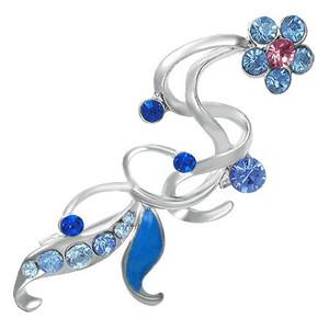 Brož květina - rúžový a modré zirkony