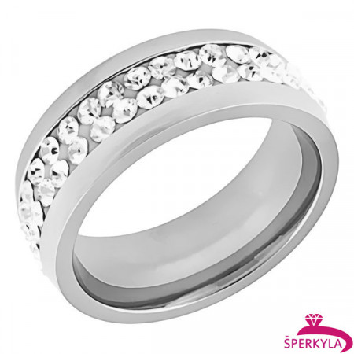 Ocelový prsten s velkým množstvím kamínků