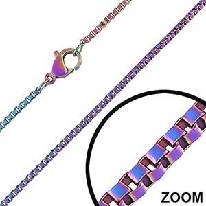 Ocelový náhrdelník, fialové a modré kostky