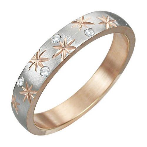 Ocelový prsten rose gold s zirkony a vyrytými hvězdami
