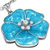 Ocelový přívěsek - modrý květ s zirkony