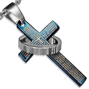 Ocelový přívěsek - modrý kříž s nápisem a prstencem