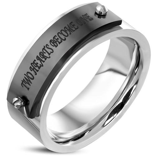 Ocelový prsten s nápisem Two Hearts Become One