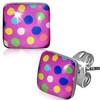 Ocelové náušnice - barevné puntíky na růžovém čtverci
