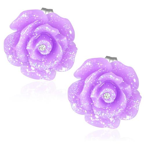 Světle fialový květ s kamínkem - Ocelové náušnice