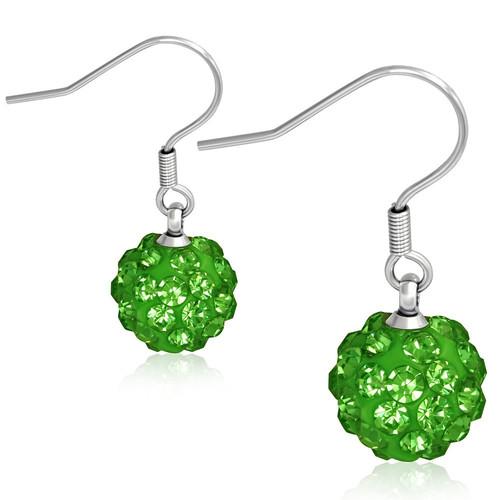 10mm – Zelené kuličky s kamínky, afroháček