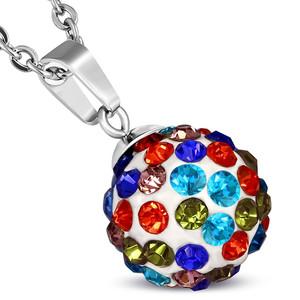 12mm – Bílé kuličky s barevnými kamínky