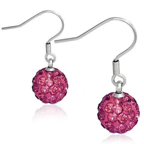 10mm – Tmavě růžová kulička s kamínky, afroháček, disco koule
