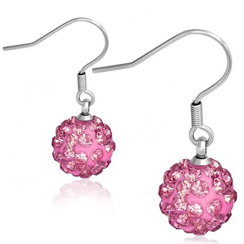 10mm – Růžová kulička s kamínky, afroháček