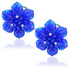 Ocelové náušnice modré květiny s kamínky
