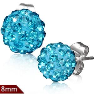 8mm – Světle modrá kulička s kamínky