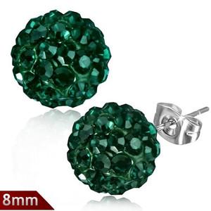 8mm – Tmavě zelená kulička s kamínky