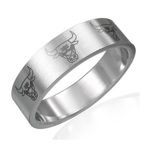 Ocelový prsten býk