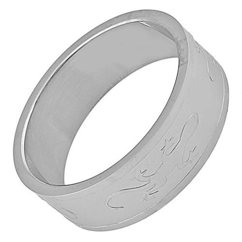 Ocelový prsten ještěrka