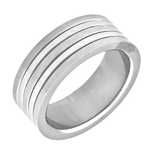 Ocelový prsten, dva lesklé pruhy